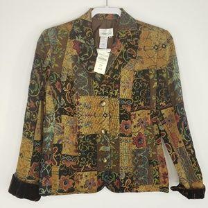 Coldwater Creek 3 Button Tapestry Jacket Blazer